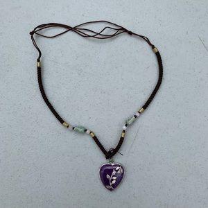 Jade Rose Floral Purple Stone Necklace